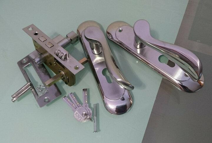 菲享 不锈钢卫生间门锁钥匙室内卧室洗手间铝合金双舌厕所房门锁把手 不锈钢色小50锁体 晒单图