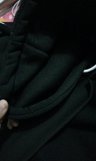 韩卡婷 卫衣女2018新款学生宽松韩版秋冬装加绒加厚大码连帽保暖长袖上衣外套 黑色 M 晒单图