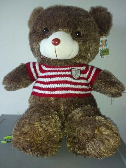 蒙格格毛绒玩具熊大号泰迪熊公仔抱枕布娃娃生日礼物女生 浅棕红白条衣服 1.6米 晒单图