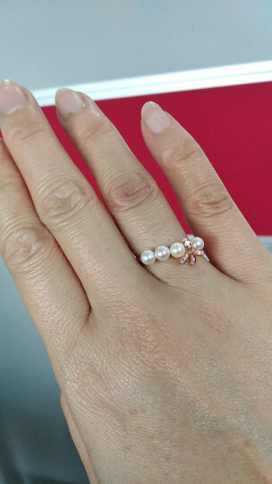 周生生点睛品18K金红色黄金Daily Luxe Akoya珍珠丝带戒指 88292R 17圈 晒单图
