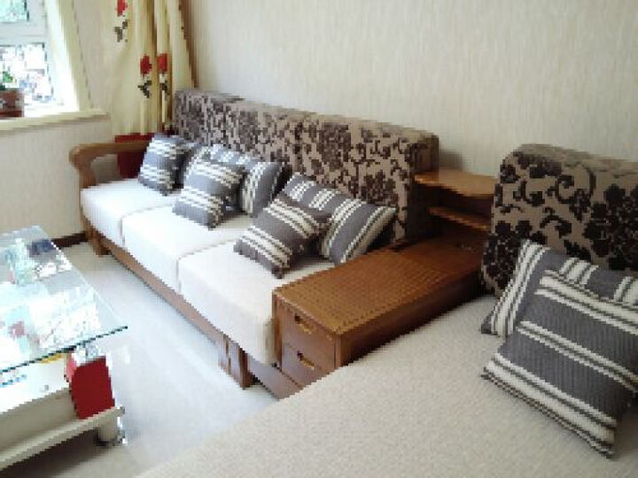裕木源 沙发 实木沙发组合 新中式现代客厅家具全实木布艺沙发 转角沙发 白蜡木 组合8(三人位*贵妃椅)2.81m 晒单图