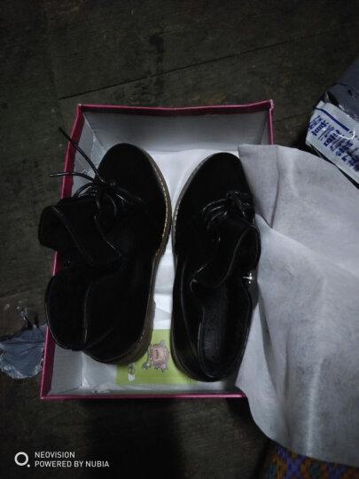 瑞欧短靴女2019秋冬季新款擦色圆头高跟鞋粗跟鞋防水台马丁靴女短靴 黑色 36 晒单图