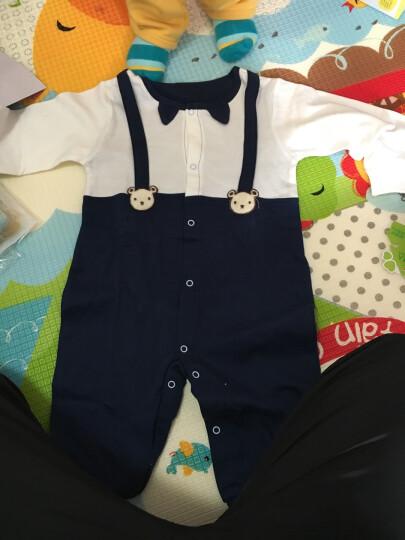 齐齐熊婴儿春装新品连体衣卡通小熊男女宝宝纯棉假两件外出哈衣 藏青色 90cm建议身高84-90cm 晒单图