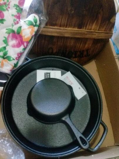 特立安福(TRIONFO) 铸铁平底煎锅 不易粘无涂层 电磁炉燃气通用 生铁锅加厚烙饼锅 30cm配木盖 晒单图