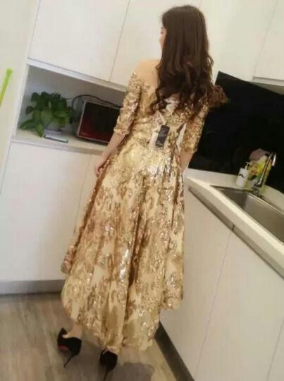 月缦新款时尚宴会一字肩中长款日常主持人晚礼服年会学生礼服连衣裙 金色 L 晒单图