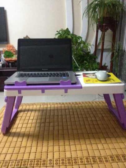 佳家达 大号多功能床上用笔记本电脑桌 懒人桌 折叠学习桌 带风扇散热器 床上电脑桌 紫白带散热器 晒单图