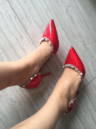 王菲儿凉鞋女 2018新款春夏款尖头包头高跟中跟细跟高跟鞋夏女生韩版女鞋 米色8121 34 晒单图