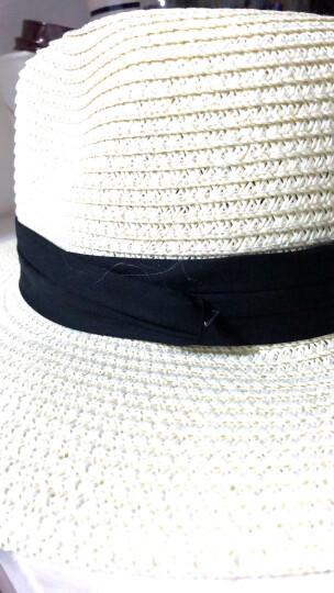 卡布利缇 帽子女夏天遮阳帽草帽韩版可折叠防晒太阳帽大沿沙滩帽礼帽 草编礼帽-米白 晒单图