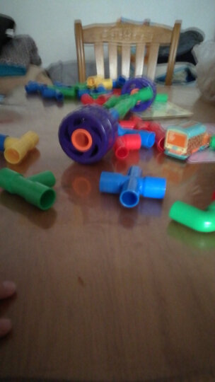 大圣水管弯管道玩具积木套装1-2宝宝拼插拼装塑料拼搭3-6周岁益智儿童男孩 幼儿园推荐立体拼插积木 礼盒装60粒 晒单图
