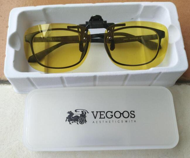 威古氏(VEGOOS)太阳镜夹片男女款防辐射近视眼镜夹片墨镜偏光夜视开车30系列夹片 3026 黄色夜视片大号 晒单图