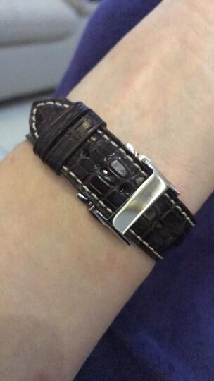 智盛手工配件鳄鱼皮表带 代用浪琴名匠表带瑰丽律雅男女真皮手表带 银扣棕皮LQ-AAA 20mm 晒单图