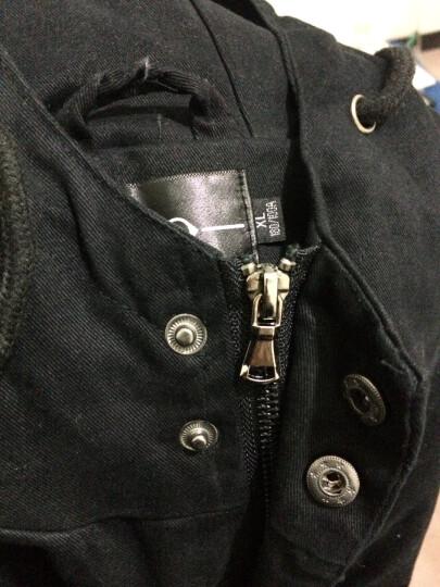 米达象风衣男士韩版中长款外套男2017新款春秋连帽夹克潮流披风冬季衣服毛呢大衣 F700黑色 XL 晒单图
