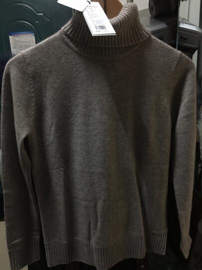 织乎秋冬新款纯色山羊绒衫女高领修身加厚套头毛衣女装针织打底衫 夹花蓝绿色 M 晒单图