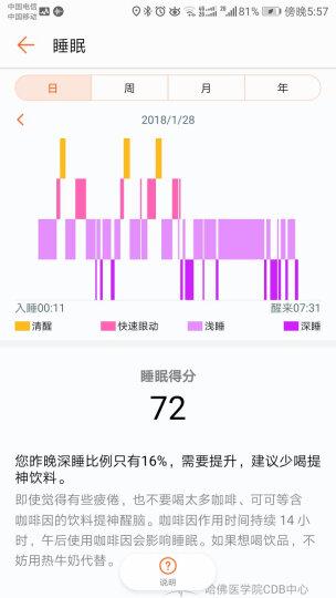 荣耀手环3  蔚海蓝 标准版(智能运动 50米防水 24小时心率监测  睡眠检测  微信内容显示 适配ios&安卓) 晒单图
