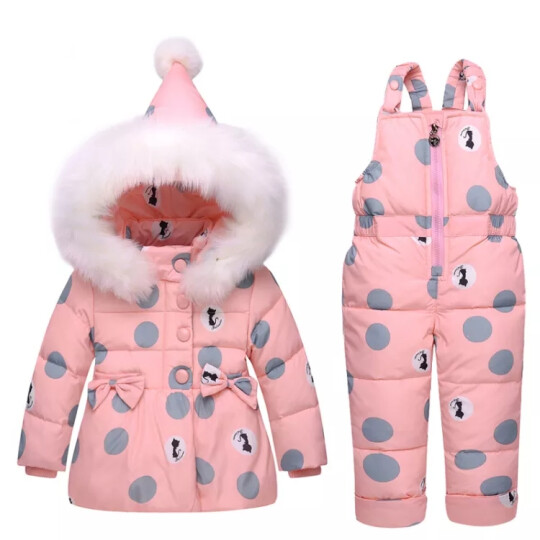 萌宝联盟(mengbaolianmeng) 儿童羽绒服男女童套装加厚婴儿背带裤两件套 粉红色圆点 80适合半岁到1岁半 晒单图