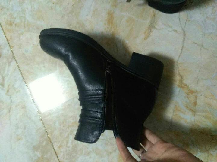 粗跟短靴女靴坡跟女鞋冬季低筒女士中跟马丁靴加绒保暖中筒靴 黑色 36正码 晒单图