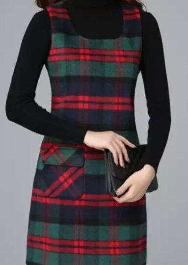 黛萍  连衣裙女2018新款女装春夏季新品毛呢裙两件套套装裙背心裙 红绿格子+打底衫 XL 晒单图