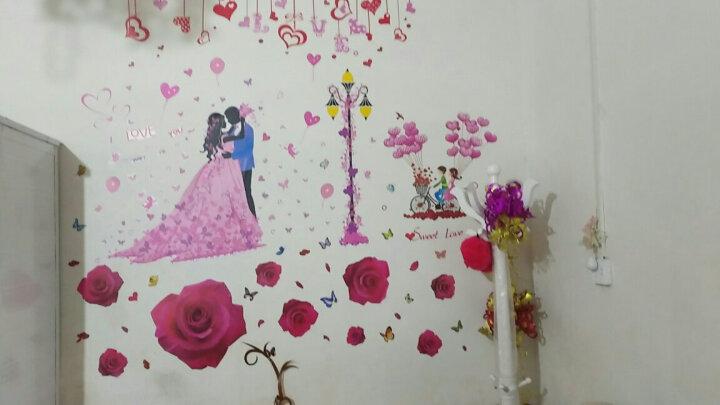 凡雅空间 七夕爱情自粘墙贴纸贴画婚房卧室温馨浪漫客厅沙发背景墙壁装饰情人节情侣爱心 22.玫瑰花+甜蜜的爱 特大号 晒单图