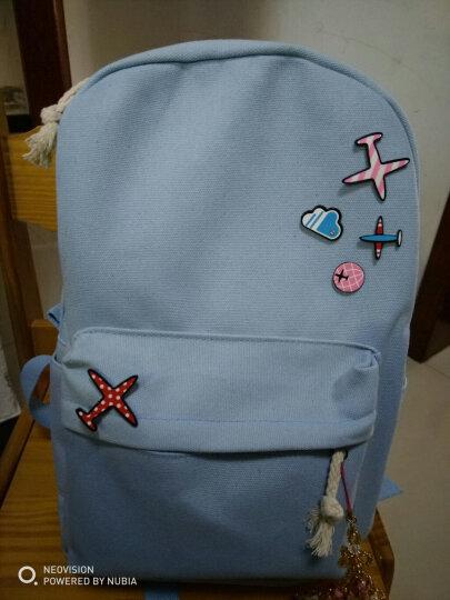BAISTY 书包女中学生背包韩版校园风清新印花五件套休闲帆布小学生双肩包 浅蓝色飞机 晒单图