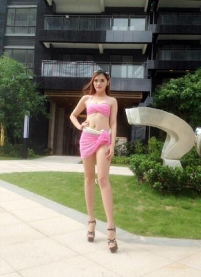 夏艳女士游泳衣 比基尼三件套 温泉泳装分体裙式大小胸聚拢 彩虹 M 晒单图