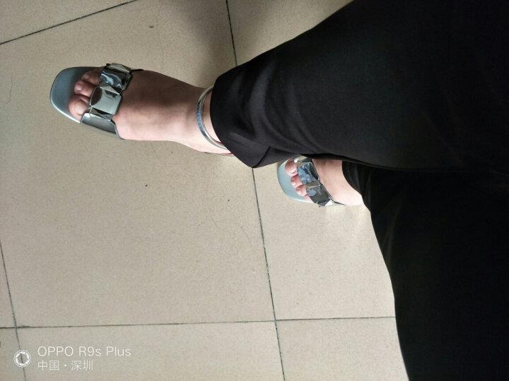 名曼中跟凉鞋女士一字扣包跟露趾透气2017夏季新款马蹄粗跟英伦OL工作休闲女鞋子 黑色 39 晒单图