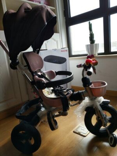 萌乐琪(MENGLEQI) 儿童三轮车折叠宝宝脚踏车多功能婴儿手推车轻便 319-1转向座椅-布鲁灰 晒单图