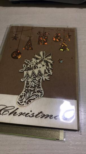 新气派~商务圣诞贺卡 牛皮纸简约圣诞饰物贴片 烫金镂空 简单大方 创意木雕贴件圣诞节卡片 随机发1张 晒单图