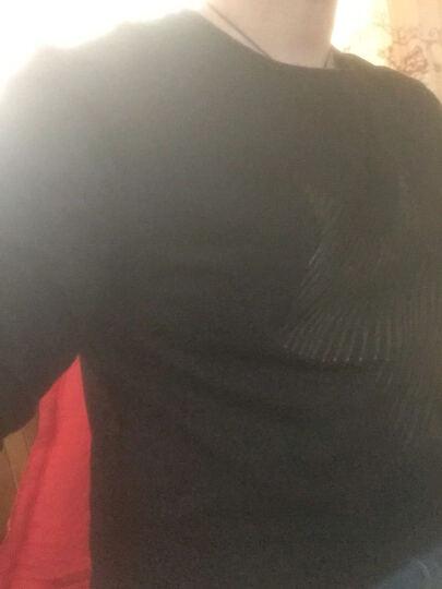 茜靓 男士长袖T恤2017春秋季新款圆领卫衣服韩版修身纯棉打底衫潮流男装上衣 601黑色 175 晒单图