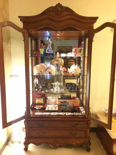 艾理思 酒柜 实木酒柜 欧式双门玻璃酒柜 美式客厅陈设柜 两门展示柜 晒单图