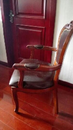 简右 欧式实木餐椅 酒店会所休闲扶手椅子 洽谈皮椅子 麻将椅全实木框架结实耐用容易打理 扶手椅 晒单图