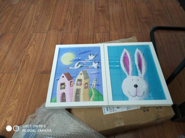 七里河畔 现代简约儿童房装饰画 客厅书房墙画 餐厅壁画可爱卡通男女孩卧室挂画双联画 漂亮的小红伞 30*40 白色实木框 晒单图