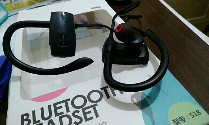 爱国者(aigo) S18无线蓝牙耳机入耳塞式双挂耳运动跑步头戴手机音乐通话苹果华为通用 s18黑色 晒单图
