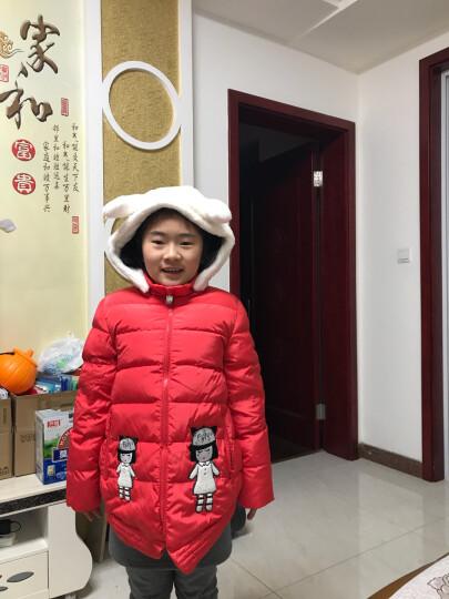 梦多多(mongdodo)童装女童羽绒服中长款儿童连帽领中大童外套潮76684160412橙红140 晒单图