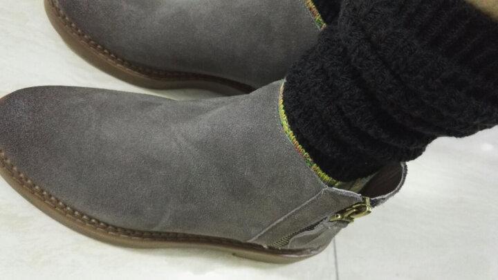青婉田设计女鞋2017新款秋冬平底女靴子短筒靴英伦马丁靴学院风复古短靴 浅褐色 38 晒单图