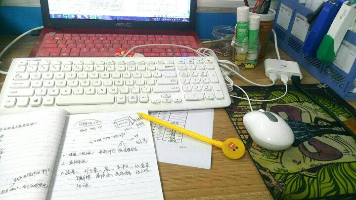 华硕(ASUS) 华硕(ASUS)有线USB超薄键盘鼠标套装 台笔记本一体机家用办公U口方口键鼠套装 KM100白色 晒单图