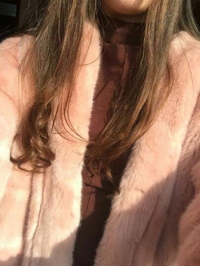 MEILUOSI梅洛思 2018冬季新款仿皮草仿水貂绒大衣中长款仿兔毛外套九分袖女 橡皮粉(长袖) XL 晒单图