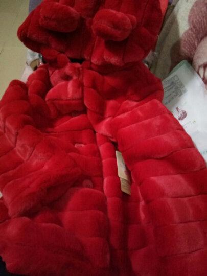 煦鹿童装女童套装冬款仿皮草毛毛衣外套加皮裤两件套儿童套装 FP大红色毛毛衣+黑色加绒皮裤 160码(建议身高145-155厘米) 晒单图