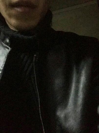 彬典皮衣男加绒2018秋冬季男士外套男立领韩版修身机车衣仿皮皮衣男外套休闲男装 黑色 加绒2XL 晒单图