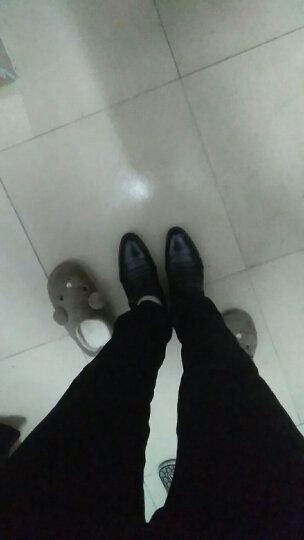 柯盾 春秋季高跟男士皮鞋尖头系带商务男鞋套脚一脚蹬懒人正装鞋自然增高5cm 黑色加绒款 40 晒单图