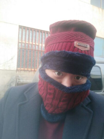 冬季男士帽子韩国版潮毛线帽加厚针织帽秋冬天套头帽包头帽 红色+脖套 晒单图