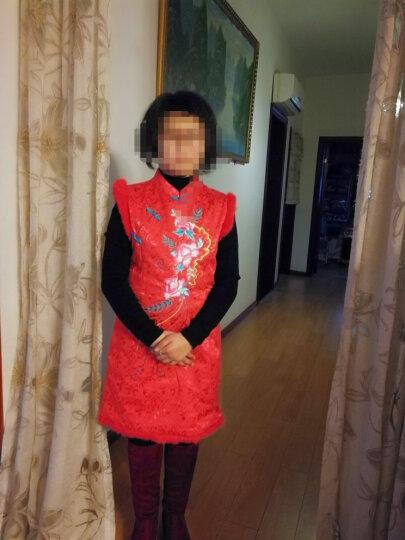 布布发现秋冬儿童旗袍上衣外套 女童唐装民族风礼服真毛童装旗袍演出服 蓝色 150 晒单图