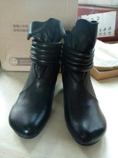 相伴秋冬女靴 手工擦色复古真羊皮鞋 高跟优雅舒适短靴毛绒棉靴 黑色毛绒内里 35 晒单图