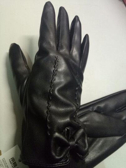 南极人(nanJiren)皮手套女冬季加厚保暖女士分指触摸屏骑行开车手套 黑色单条白线-均码加绒触屏 晒单图