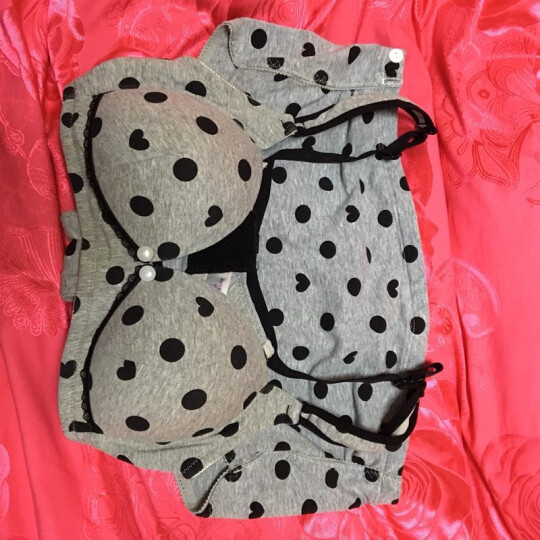 孕妇内衣套装怀孕期内裤纯棉喂奶无钢圈舒适哺乳文胸套装孕妇胸罩 浅色波点 80B+L码内裤 晒单图