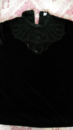 秀色滨伊 打底衫女2018春装新款韩版金丝绒蕾丝上衣长袖百搭 6738蓝色的 3XL 晒单图