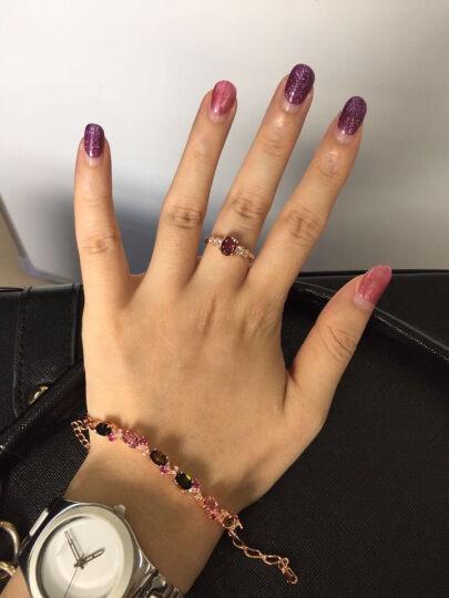 欧采妮 碧玺戒指银镀玫瑰金彩色宝石镶嵌戒指 绿碧戒指+碧玺手链套装(5-7天定制) 晒单图