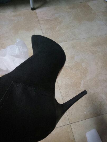 韩姿莎高跟鞋女尖头细跟后拉链时尚短靴防水台女鞋子 LK6358黑色 37 晒单图