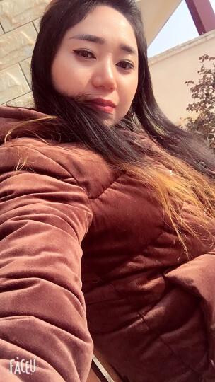 菲娅缇 金丝绒棉服女中长款2017冬季棉袄外套新款韩版修身原宿长袖棉衣女 咖啡色 M 晒单图