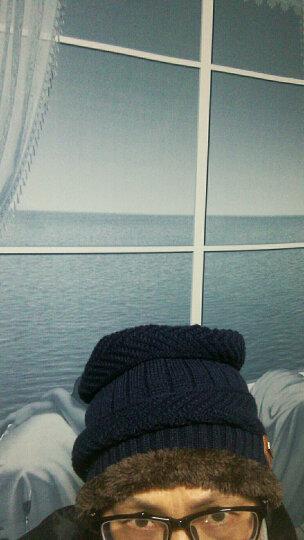 冬季男士帽子韩国版潮毛线帽加厚针织帽秋冬天套头帽包头帽 藏蓝色+脖套 晒单图