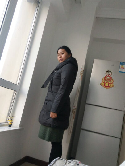 红豆修身纯色甜美羽绒服女中长款连帽显瘦时尚女装 HD-E652 亮黄色 165 晒单图